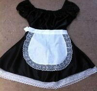 maid dress+piny cosplay sissy rocky horror black satin fetish slave  sizes 8-24