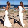 Simple Beach Sleeveless Sheath Wedding Dresses Backless Satin Bridal Gown Custom