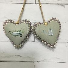2 Sophie Allport Gardening Fabric Handmade Hanging Hearts Shabby Chic Vintage