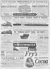 Victorian Adverts Fountain Pens, Medical Battery Co etc - Antique Print 1891