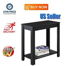Side End Table Coffee Couch Narrow Wooden Living Room Home Furniture Black NEW