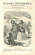 Patinage sur glace hiver des pays scandinaves dessin Tony Johannot GRAVURE 1851