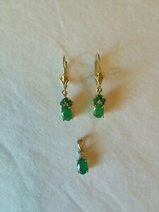 Emerald And Diamond Earrings And Pendant
