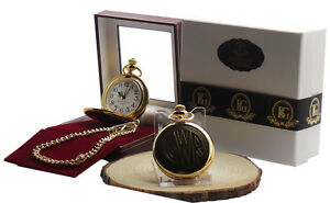 Great Western Railway Pocket Watch and chain Luxury Gift Case GWR 24k Coated