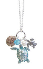 Sealife Theme Multi Charm Necklace Turtle Pearl Sand dollar