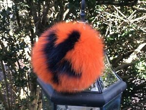 Huge 6 Inch FOX FUR bag charm pom pom keychain purse pendant Letter K