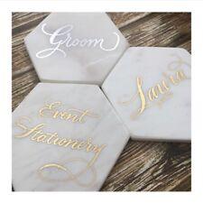 Hexagon White Grey Marble Coaster Coffee Wedding Decor
