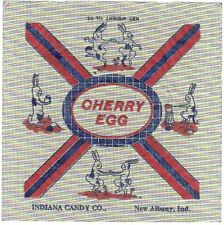 Original Vintage Cherry Egg Candy Wrapper Indiana Candy Co. New Albany, Indiana