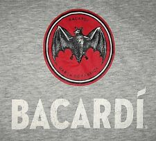 BACARDI RUM MARCA de FABRICA PR T-Shirt, Men's LARGE, Heather Gray Bat Logo NEW