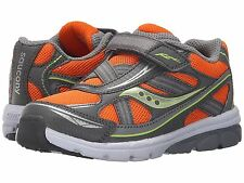 Sneakers Saucony Boys Non-Tie Sneakers Orange/Grey Little Boys Size 5 Wide