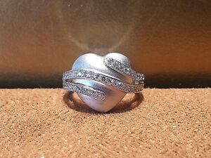 14KT.white gold Diamond Heart shape Cluster Ring with 0.55CT.Round.size6