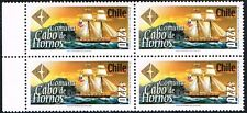 CHILE 2001 STAMP # 2076 MNH BLOCK OF FOUR SAILING SHIP CABO DE HORNOS