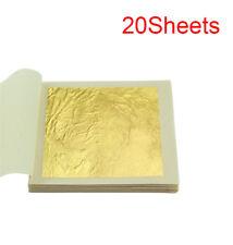 24k Real Gold Leaf Sheet Food Craft Mask Spa Gilding Oz 20 Sheets
