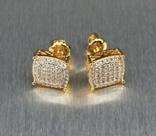 Mens & Ladies 18K Gold Filled 0.5 ct. Lab Diamond Canary Stud Earrings 10mm
