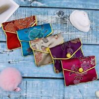 Various Colours Zipper Jewelry Gift Pouch Chinese Style Silk Coin Purse Wallet