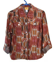 Ruby Rd. Sz 10 Southwest Blouse Jacket Fall Semi-Sheer Burnout Roll Tab Sleeve