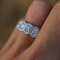 ALS_ Fashion Women Round Cubic Zirconia Plated Engagement Wedding Ring Jewelry P