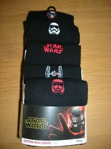 M&S 5pk Star Wars Socks - Cotton Rich - Size 6 - 8.5 - BNIP