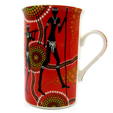 Mug Cup Coffee Tea Australia Kangaroo Australian Aboriginal Art Bone China Red