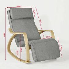 SoBuy Grey Relax Rocking Chair With Adjustable Footrest Side Bag Fst18-dg UK