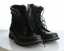 O44 Men's Size 8.5 Timberland Black Leather Lace Up Combat Boots