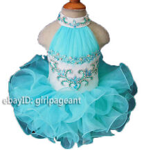 Infant/toddler/baby Aqua Blue Crystals Rhinestones Pageant Dress G100