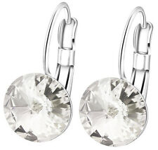 Silver plated with Swarovski crystals Vitrail Light or White Clear Bella Earring
