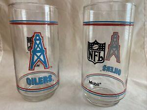 HOUSTON OILERS VINTAGE 1990'S MOBIL GLASS SET (2)