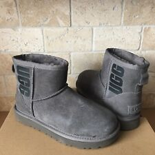 UGG Classic Mini UGG Rubber Logo Gray Grey Suede Sheepskin Boots Size 5 Womens