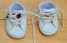 TOMMY HILFIGER Leather 1M Infant Baby Crib Shoes White with Brand Flag