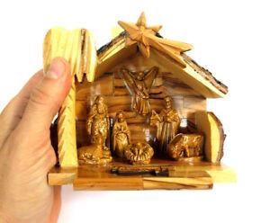 Christmas gift Nativity Set Olive Wood Hand Carved Biblical in Bethlehem 12cm