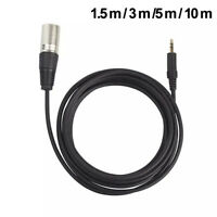 3.5mm Stereo Jack Plug to 3 Pin XLR Male Microphone Audio Cable Cord Adapter hea