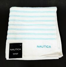 NEW NAUTICA  FOOTROPE WHITE+TEAL GREEN STRIPED 100% COTTON 1 BATH TOWEL
