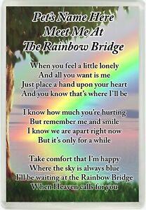 Personalised Pet Rainbow Bridge Poem Magnet Memorial Keepsake Dog Cat Gift M217