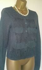 LADIES HOLLISTER GREY CARDIGAN SZ S-M IN VGC! LACEY,RUFFLES,FRAYED,LOVELY!