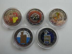 Europa 5 x 2 Euro 2005-2011 Farbgeld Lot 5 Münzen (4