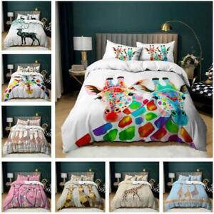 Art Giraffes Quilt Duvet Cover Bedding Set Pillowcase Single Double King Size UK