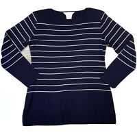 exclusively misook top Women's Size XS Blue White Stripe Long Sleeve