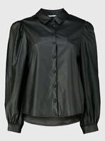 Brand New Tu Women's Black Faux Leather Shirt Size 8