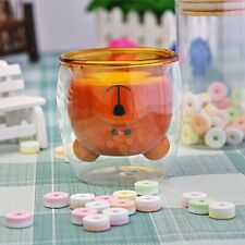 Bear Glass Cup Insulated Double Layer Mug Drinking Wine Tea Coffee Glasses Cups