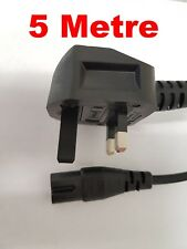 New Figure Fig of 8 IEC C7 Mains Power Lead Cable - Black, Straight Plug 5M