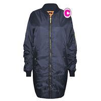 Womens Ladies Long Bomber Jacket  Style Zip Up Biker Vintage Coat  UK 6-14