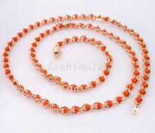 "fashion1uk Mothers Day 18K Yellow Gold Plated Special 60cm 22"" Red Bead Necklace"