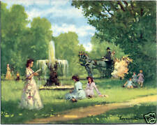 Victorian Ladies at Fountain Canvas-Style Lithograph