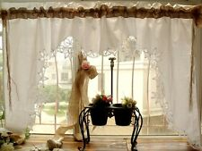 Sets Shabby Country Chic Burlap Lace Swag Curtain Valance HAND Lace Ruffles Bows