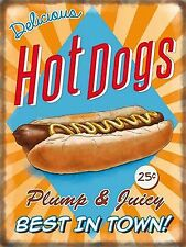 METAL VINTAGE RETRO U.S. DINER HOT DOGS TIN SIGN WALL PLAQUE / FRIDGE MAGNET