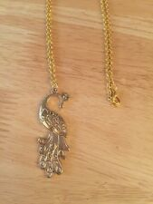 Brand New - Beautiful Vintage Style Gold Pretty Peacock Costume Necklace - 13""