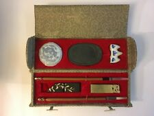 Collectible Chinese Calligraphy Brush Pen Ink Stone Calligraphy Set Round Case