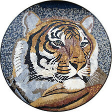 "40"" Handmade tiger head Marble Mosaic Mural Home Decor Stone Art Tile"