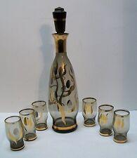 Decanter Shot Glasses with Gold Design Vintage Glass Set